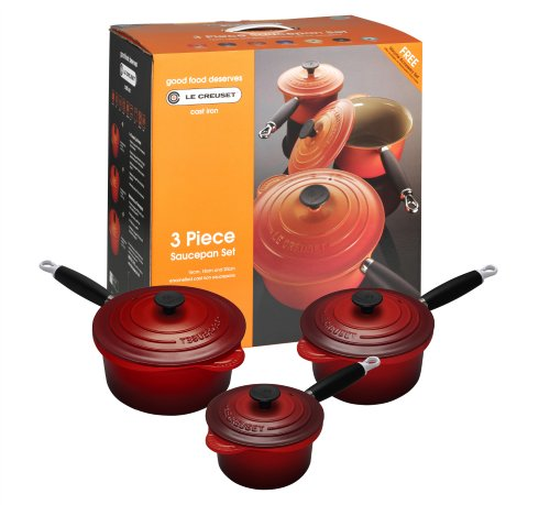 le creuset cast iron saucepan set 3 piece set cerise. Black Bedroom Furniture Sets. Home Design Ideas